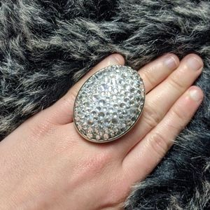 Tarina Tarantino silver mod ring large crystals